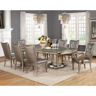 Glamour Design Metallic Platinum Rhinestone Button Tufted Dining Set With  Buffet Server Part 65