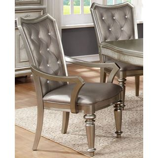 Glamour Design Metallic Platinum Dining Arm Chairs with Tufted Rhinestone Buttons (Set of 2)