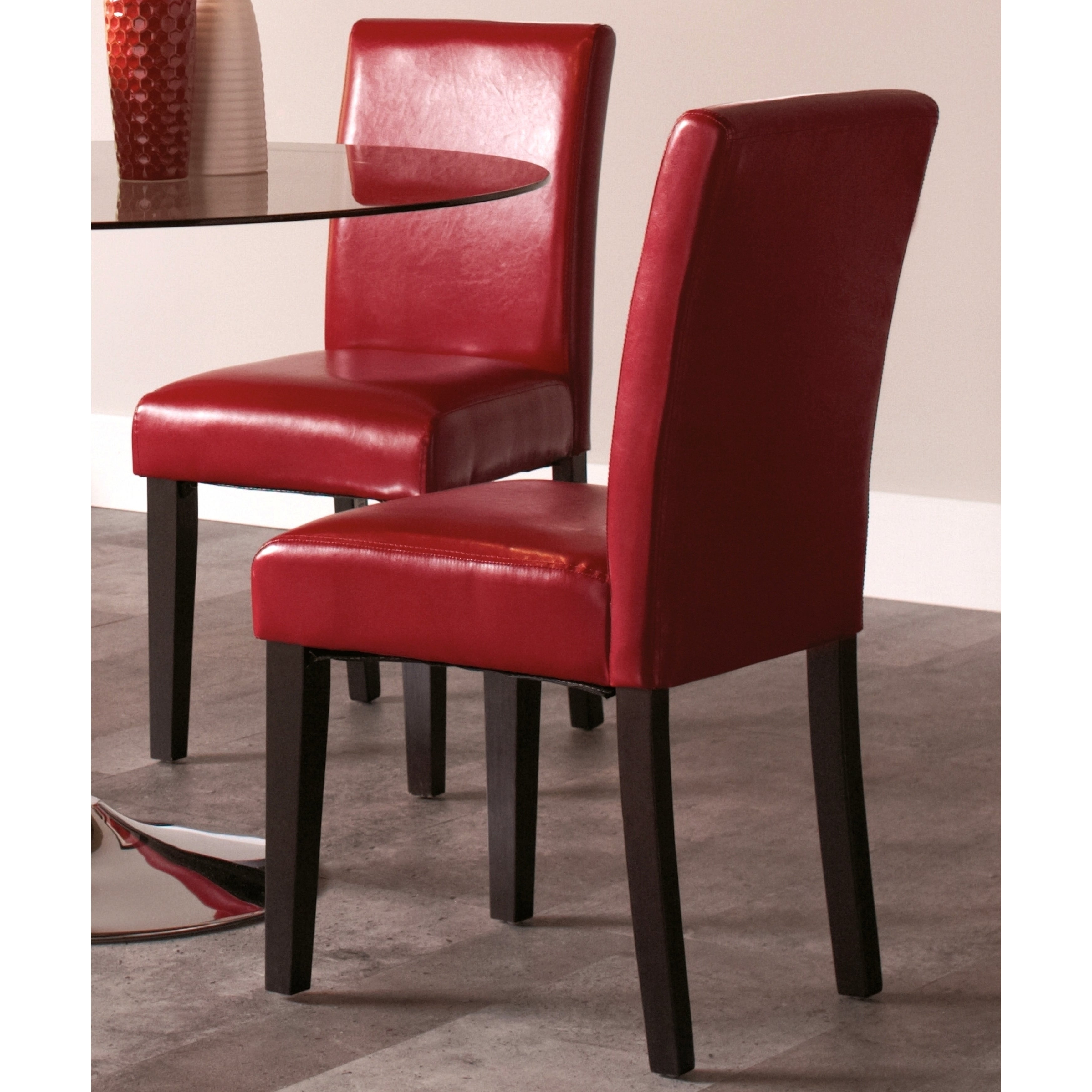 Casual Red Upholstered Parsons Dinning Chairs (Set of 2) ...