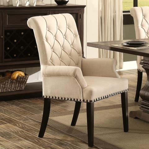 Decorative Rolled Back Button Tufted Arm Chair with Nailhead Trim