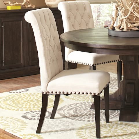 Decorative Rolled Back Button Tufted Chairs with Nailhead Trim (Set of 2)