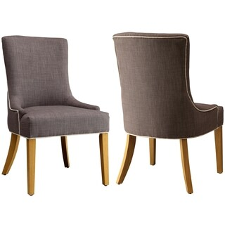 Grey Upholstered Chairs with White Piping (Set of 2)