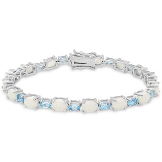 Dolce Giavonna Sterling Silver Opal and Blue Topaz Oval Link Bracelet