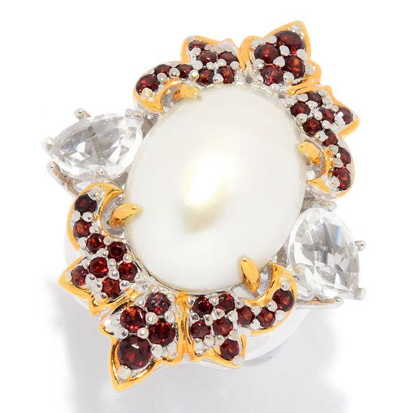 Michael Valitutti Palladium Silver Mabe Cultured Pearl, White Quartz & Garnet Ring