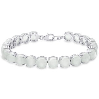 Dolce Giavonna Sterling Silver Chalcedony Tennis Style Bracelet