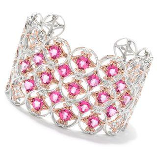Michael Valitutti Palladium Silver Checkerboard Cut Pink Topaz Wide Cuff Bracelet