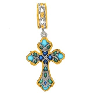 Michael Valitutti Palladium Silver Multi Color Enamel Cross Drop Charm