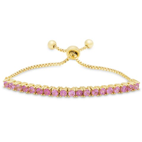 Molly and Emma Gold over Silver or Sterling Silver Fuchsia Cubic Zirconia Adjustable Slider Bracelet