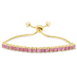 Molly and Emma Gold over Silver or Sterling Silver Fuschia Cubic Zirconia Adjustable Slider Bracelet