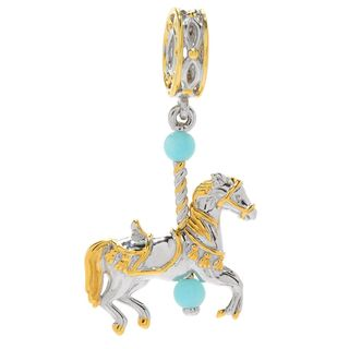 Michael Valitutti Palladium Silver Round Amazonite Carousel Horse Drop Charm