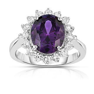 14K White Gold Oval Gemstone & Diamond (0.50 Ct, G-H Color, I1-I2 Clarity) Ring