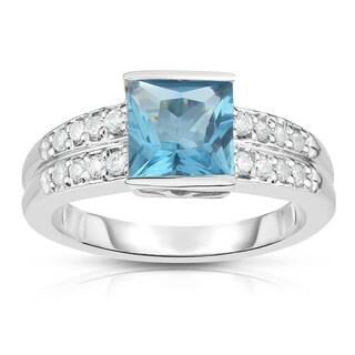 14K White Gold Princess Cut Gemstone & Round Diamond (0.25 Ct, G-H Color, I1-I2 Clarity) Ring|https://ak1.ostkcdn.com/images/products/15634937/P22066278.jpg?_ostk_perf_=percv&impolicy=medium