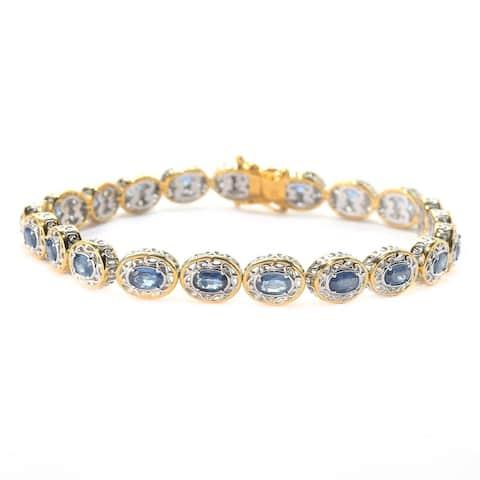 Michael Valitutti Palladium Silver Ceylon Blue Sapphire Oval Link Tennis Bracelet