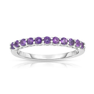 14K White Gold Gemstone (0.40 Ct) 11-Stone Stackable Ring