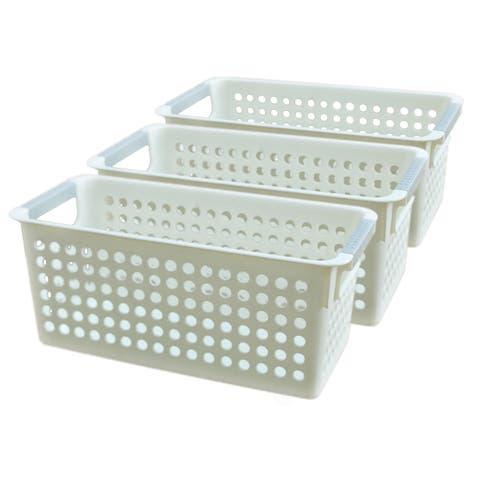White Rectangular Plastic Shelf Organizer Basket with Handles