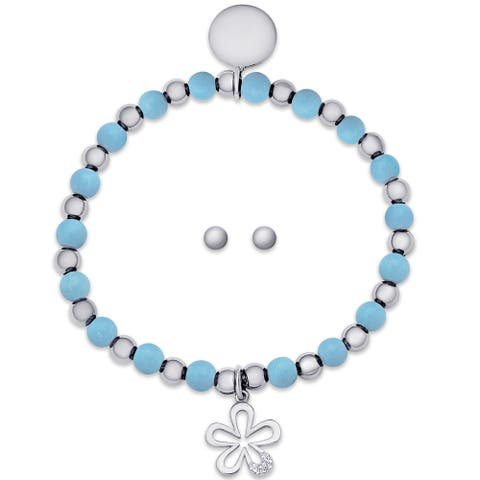Molly and Emma Sterling Silver Children's Beaded Flower Charm Stretch Bracelet and Stud Earrings Set