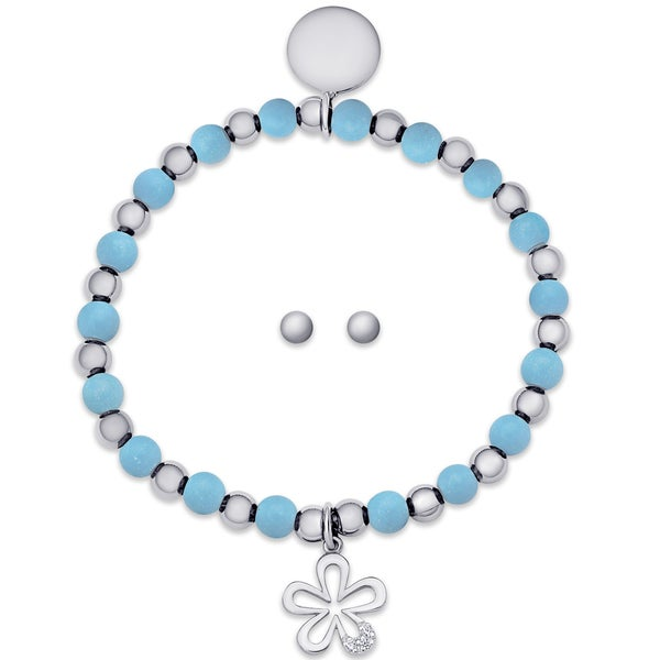 600a9fa18 Molly and Emma Sterling Silver Children's Beaded Flower Charm Stretch  Bracelet and