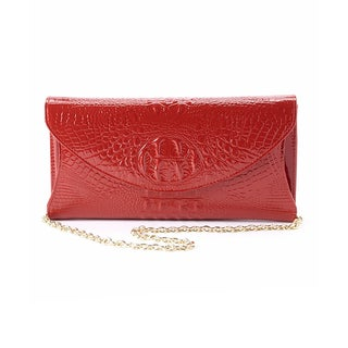 Mllecoco by Diophy Real Leather Metal Chain Crocodile Texture Crossbody Clutch Handbag