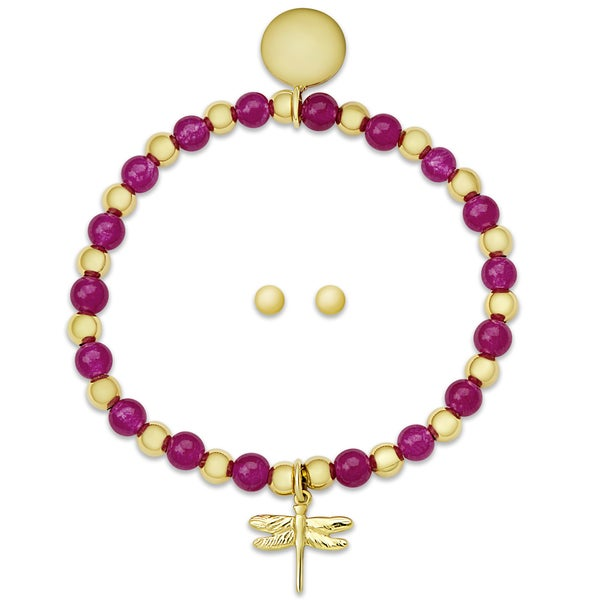 f8977cbba Molly and Emma Sterling Silver Children's Beaded Dragonfly Charm  Bracelet and Stud