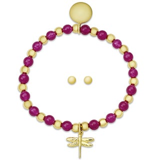 Molly and Emma Sterling Silver Children's Beaded Dragonfly Charm Bracelet and Stud Earrings Set