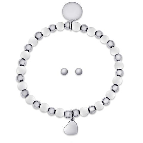 Molly and Emma Sterling Silver Children's Beaded Heart Charm Stretch Bracelet and Stud Earrings Set