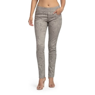 Bluberry Women's Karel Taupe Print Slim Leg Denim