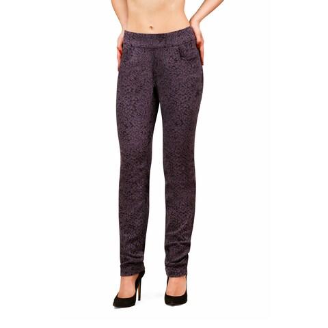 Bluberry Women's Hedy Black Grey Design Straight Leg Denim
