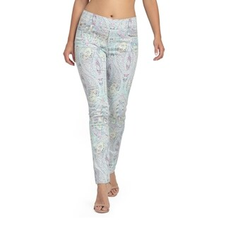 Bluberry Women's Glen Paisley Print Slim Leg Denim