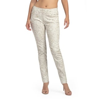 Bluberry Women's Bryna Coffee White Print Slim Leg Denim