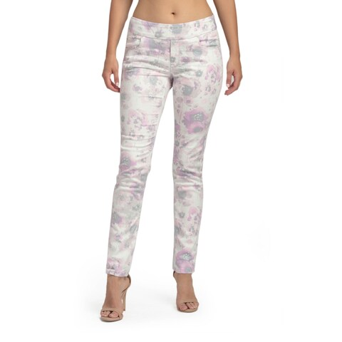 Bluberry Women's Cariana Pink Floral Ankle Length Denim