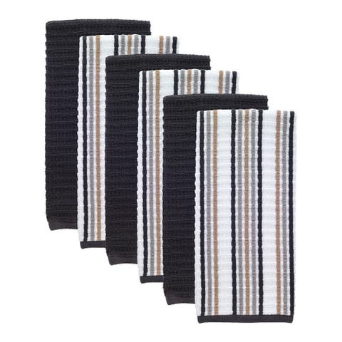 T-fal Textiles 6 Pack Solid & Stripe Waffle Terry Kitchen Dish Towel Set