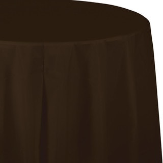 Touch of Color Tablecovers Plastic, Octy Round 82 inch Chocolate Brown ,Case of 12