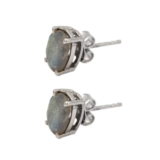 Sterling Silver Oval Labradorite Stud Earrings