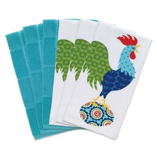 T Fal Textiles 6 Pack Print Dual Solid Parquet Kitchen Dish Towel Cloth Set