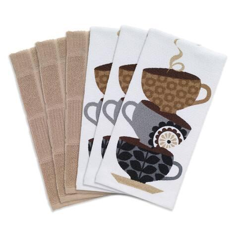 T-fal Textiles 6 Pack Print Dual & Solid Parquet Kitchen Dish Towel Cloth Set