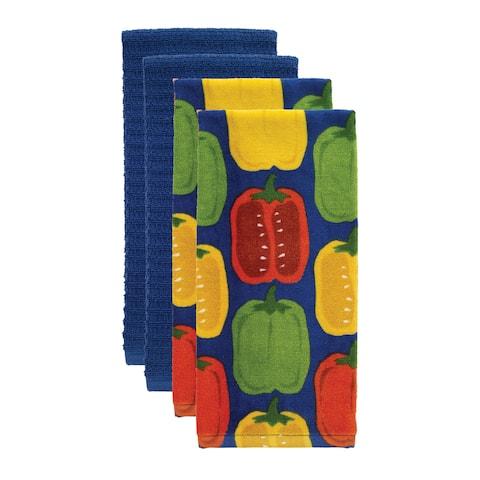T-fal Textiles 4 Pack Print Fiber Reactive & Solid Waffle Terry Kitchen Dish Towel Cloth Set