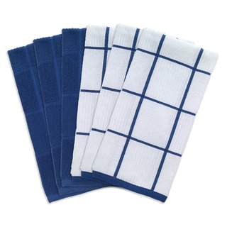 T-fal Textiles 6 Pack Solid & Check Parquet Kitchen Dish Towel Cloth Set