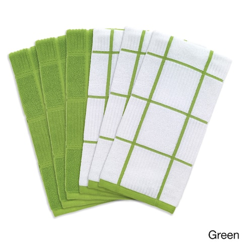 T-Fal Textiles 6-piece Solid and Check Parquet Cotton/Terry Kitchen Dish Towel Cloth Set