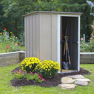 Arrow 5 x 4 ft. Galvanized Steel Pent Roof Coffee/ Taupe/ Eggshell Storage Shed