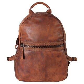 Diophy Genuine Leather Front Zipper Pocket Large Backpack