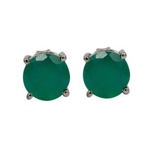 Sterling Silver Round Green Onyx Stud Earrings