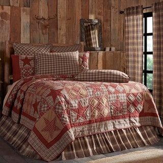Tan Rustic Bedding VHC Dawson Star Quilt Cotton Star