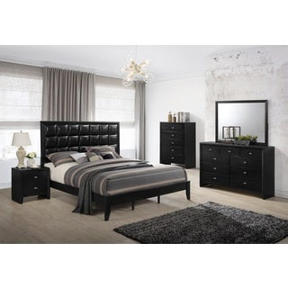 Gloria 350 Black Finish Wood and Upholstered Bed Room Set, Queen Bed, Dresser, Mirror, Night Stand, Chest