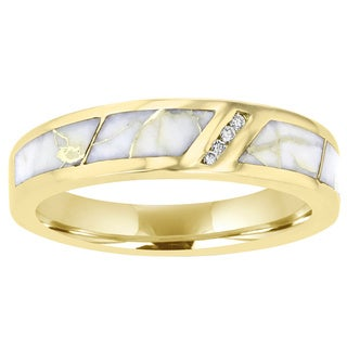 La Vita Vital 14K Yellow Gold & Gold Quartz Inlay and Diamond Ring 0.07ct TDW (SI1-VS, G-H) - White