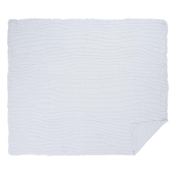 White Farmhouse Bedding VHC Aurora Quilt Cotton Solid Color Ruched Ruffle Voile
