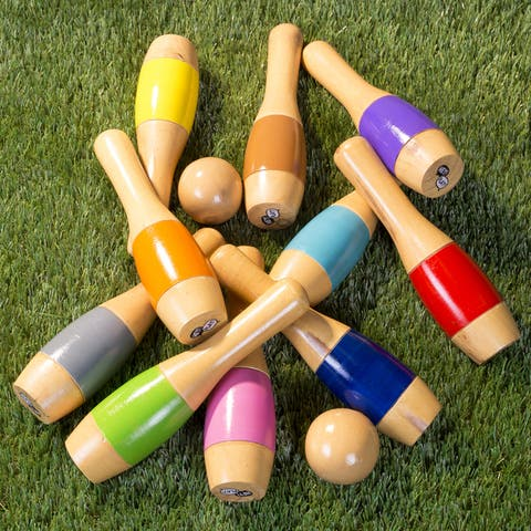 Hey! Play! 9.5-inch Wooden Multicolored Pin Lawn Bowling - Multi-color - 9.5 Inches