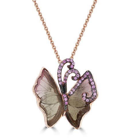 14K Rose Gold Natural Tourmaline 3.36cts and Pink Sapphire Butterfly Necklace by La Vita Vital