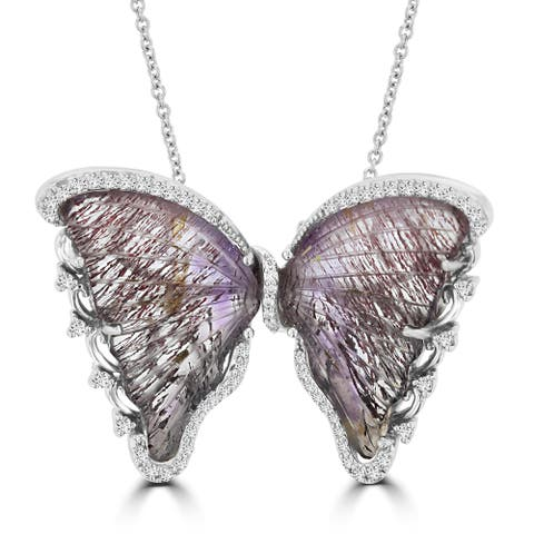 Sterling Silver Natural Rutile Quartz 13.65cts and Diamond 0.48ct TDW (VS-SI1, G-H) Butterfly Necklace by La Vita Vital