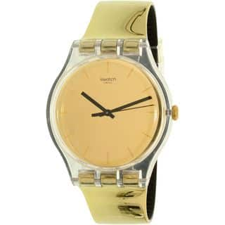 Swatch Women's SUOK120 'Goldenall' Gold-Tone Leather Watch|https://ak1.ostkcdn.com/images/products/15635278/P22066603.jpg?impolicy=medium