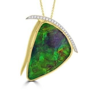 La Vita Vital 14K Yellow Gold 37.01ct Ammolite and Diamond 0.20ct (SI1-VS, G-H ) Necklace